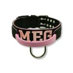 Coleira Para Cachorro Com Alça Personalizada (preto e rosa)