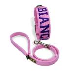 Coleira Para Cachorro Personalizada + Guia Curta 80cm (rosa e roxo)