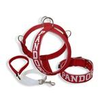 Kit Personalizado Amorosso (Peitoral + Coleira + Guia) vermelho e branco