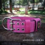 Coleira Para Cachorro Amorosso (Pink e Preto)