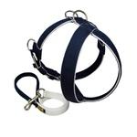 Peitoral Tradicional Amorosso® (azul marinho e branco) + Guia Curta 80cm