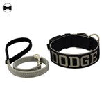 Coleira Para Cachorro Personalizada + Guia (preto e cinza)