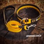 Conjunto Colar Enforcador + Guia Longa 1,80m Amorosso® (amarelo e preto)