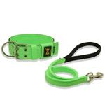Coleira Para Cachorro Amorosso + Guia Curta 80cm (Verde Flúor e Preto)