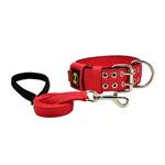 Coleira Para Cachorro Amorosso + guia curta 80cm (vermelho e preto)