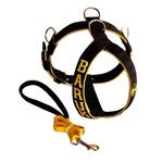 Peitoral Amorosso® Personalizado + Guia Curta - Preto e Amarelo