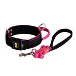 Coleira Para Cachorro Poderosso + Guia (preto e pink)