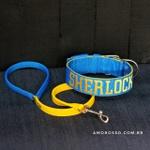 Coleira Para Cachorro Personalizada + Guia Curta 80cm (azul e amarelo)