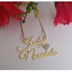 Colar Personalizado Dois Nomes Banhado a Ouro Com Coração Cravejado