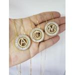 Mandala Zircônias Com Inicial Cravejada Banhada a Ouro