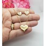 Conjunto Brinco e Gargantilha Coração Banhado a Ouro
