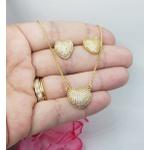 Conjunto Brinco e Gargantilha Coração Zircônias Banhado a Ouro