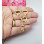 Conjunto Brinco Coração e Colar Gravatinha Banhado a Ouro