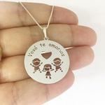 Mandala em prata 925 com até 3 crianças e frase