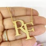 Colar Monograma Personalizado Banhado a Ouro