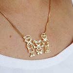 Colar Família Com Até 5 Integrantes Banhada a Ouro