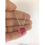 Colar pedra coração em prata 925