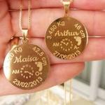 Gargantilha Mandala Dados Nascimento Banhada a Ouro