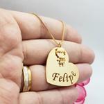 Colar Personalizado Coração Com 1 Filho (a) Banhado a Ouro