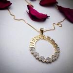 Mandala Personalizada Até 3 Nomes Banhada a Ouro Com Corações Cravejados