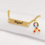 Pulseira Infantil Personalizada Símbolo Autismo Banhada a Ouro