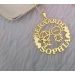 Colar Mandala Simples Banhada a Ouro Com Até 3 Nomes