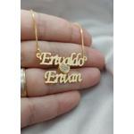 Colar Personalizado Dois Nomes Banhado a Ouro Com Detalhe de Coração