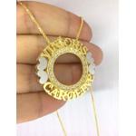 Gargantilha Mandala Dupla Em Banho de Ouro Cravejada em Zircônias