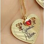 Colar personalizado banhado a ouro coração com escrita de Dois filhos (as)