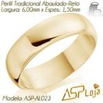 AL023-Par de Aliança de Casamento e Noivado Tradicional de Ouro 18K