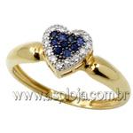 Anel de formatura coração em Ouro amarelo 18k 750 com diamantes - ASP-AF-15