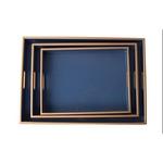 Bandeja Annie Azul Hortência com Filete Dourado M