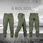Calça Tática Militar 6 Bolsos Rip Stop Verde Olive