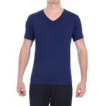Camiseta Gola V Manga Curta Azul - Algodão Egípcio