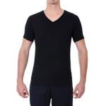 Camiseta Gola V Manga Curta Preta - Algodão Egípcio