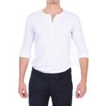 Camisa Henley Manga Longa Branca - Algodão Egípcio