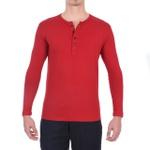 Camisa Henley Manga Longa Vermelha - Algodão Egípcio