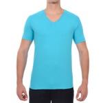 Camiseta Gola V Manga Curta Azul Claro - Algodão Egípcio