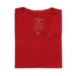 Camiseta Gola V Manga Curta Vermelho - Algodão Egípcio