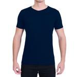 Camiseta Gola Redonda Curta Azul - Algodão Egípcio
