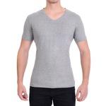 Camiseta Gola V Manga Curta Cinza Mescla- Algodão Egípcio