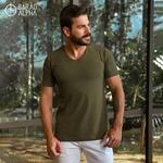 Camiseta Gola V Manga Curta Verde - Algodão Egípcio