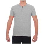 Camisa Raglan Manga Curta Cinza- Algodão Egípcio