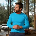 Camiseta Ultra Slim Longa Azul Claro - Algodão Egípcio