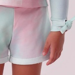 Conjunto Menina Petit Cherie Blusa Short Tie Dye Laço Paetê
