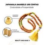 Japamala Amarelo 108 Contas De Madeira Para Ho'oponopono - Lótus