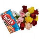 12 Rosas Coloridas + Chocolates