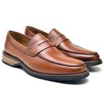 Sapato Social Masculino Loafer Madri Em Couro Whisky