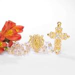 Terço Noiva Cristal e Strass - Dourado