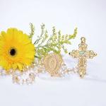 Terço Noiva Cristal Irisado e Strass - Dourado